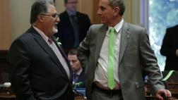 Senator Portantino with Senator Wieckowski on Mental Health Awareness Day on the Senate Floor